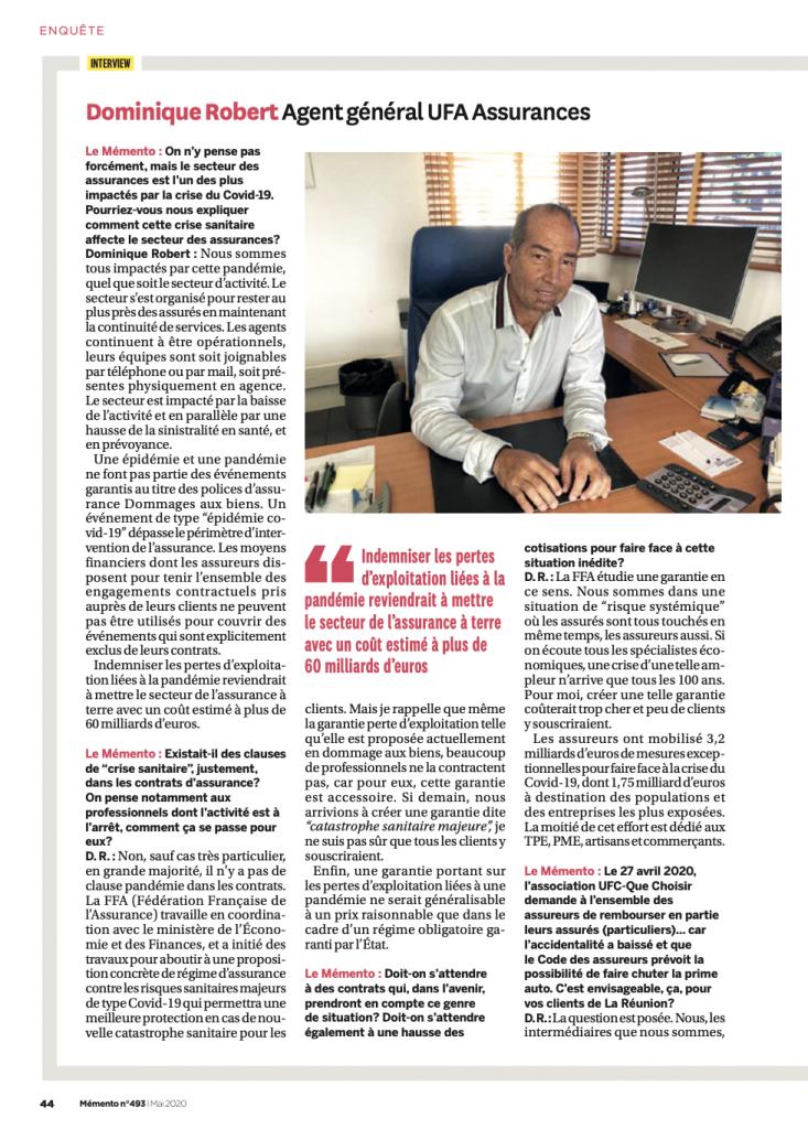 dominique robert dans le memento mai 2020